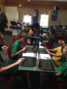 Hard at work on Hyperscore pieces at Inglewood Primary School
